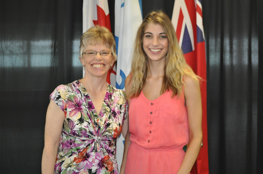 Taylor Long receiving the Rotary Club of Orillia Child and Youth Care Worker Award