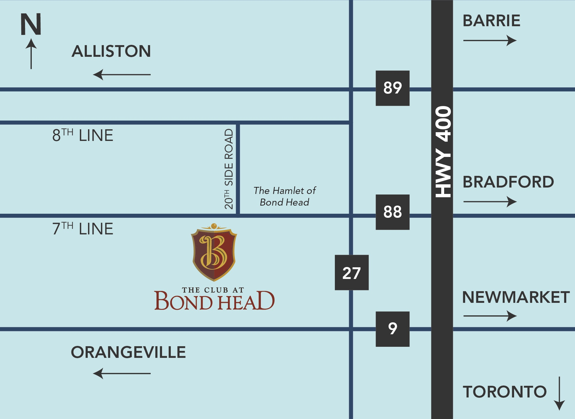 map to The Club at Bond Head