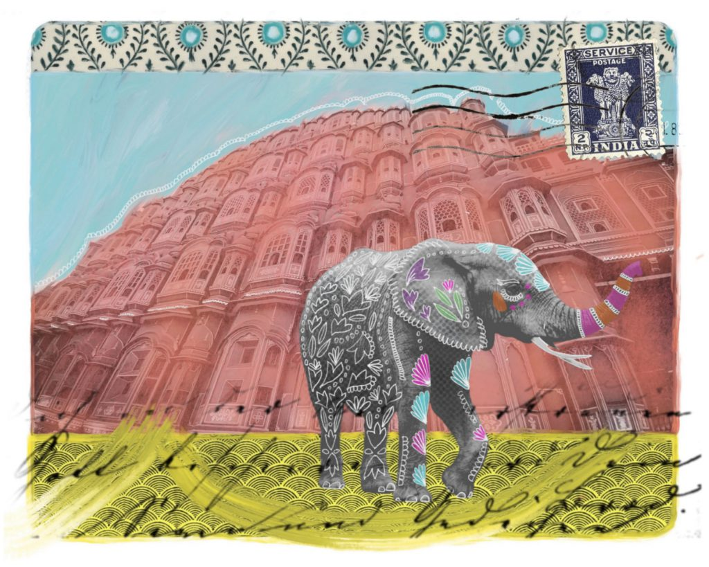 Artwork showing an elephant with a flower design superimposed on top, standing on yellow and black writing, in front of a building coloured red, against a blue sky with an India stamp in the top-right corner and a design of flowers and leaves across the top.