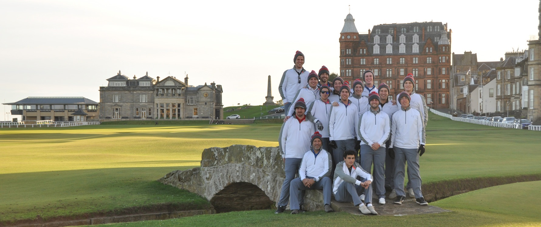 A group of Georgian College Bachelor of Business Administration Golf Management students at a golf course in Scotland