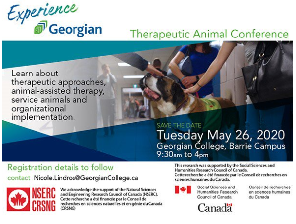 Therapeutic Animal Conference, Learn about therapeutic approaches, animal-assisted therapy, service animals and organizational implementation, save the date Tuesday May 26, 2020 9:30 a.m. to 4 p.m.