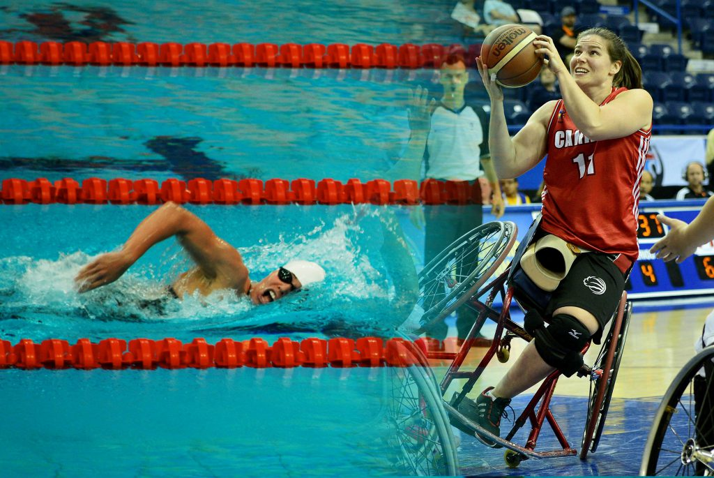 Two photos superimposed together, showing the same athlete wearing a white swim cap and black goggles swimming across a pool, on the left, and in a wheelchair with brown hair in a ponytail, wearing a red jersey and black shorts and holding a basketball and looking up, on the right.