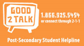 Good 2 Talk, Post-secondary student helpline, 1.866.925.5454