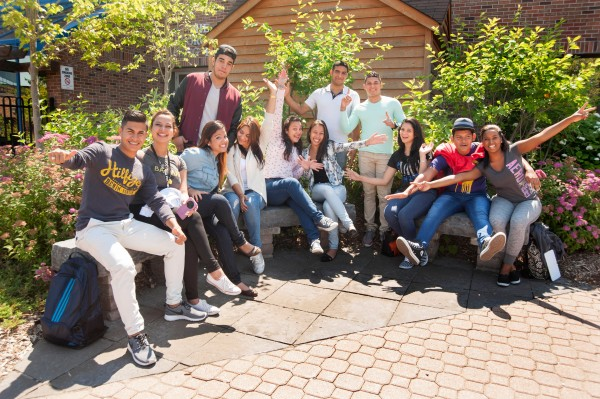 International students sitting outside at Barrie Campus