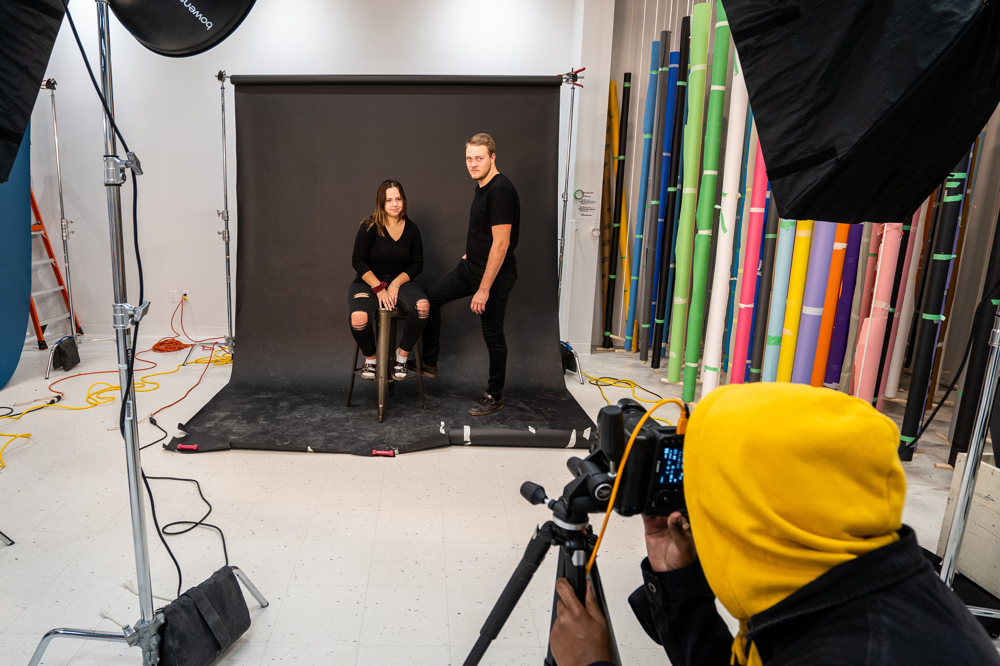 Students working in the photography studio in the downtown location