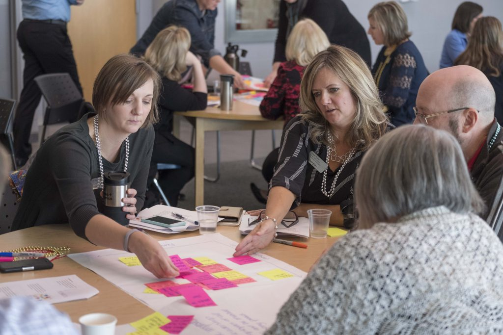 People sitting at a table brainstorming with post it notes