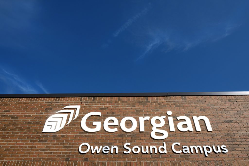Side of building with Georgian College logo and the words Owen Sound Campus