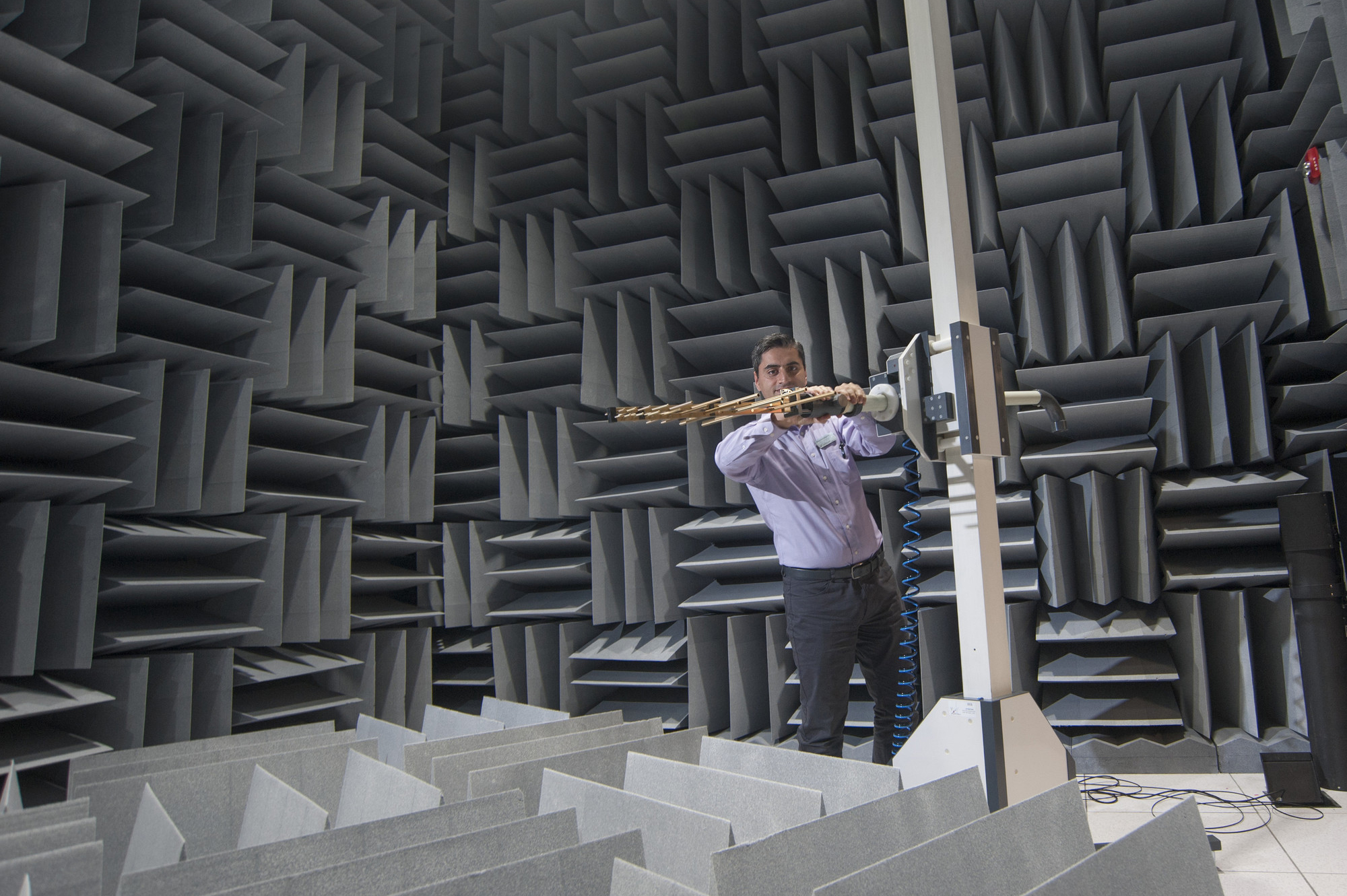 Male working in the Anechoic Chamber