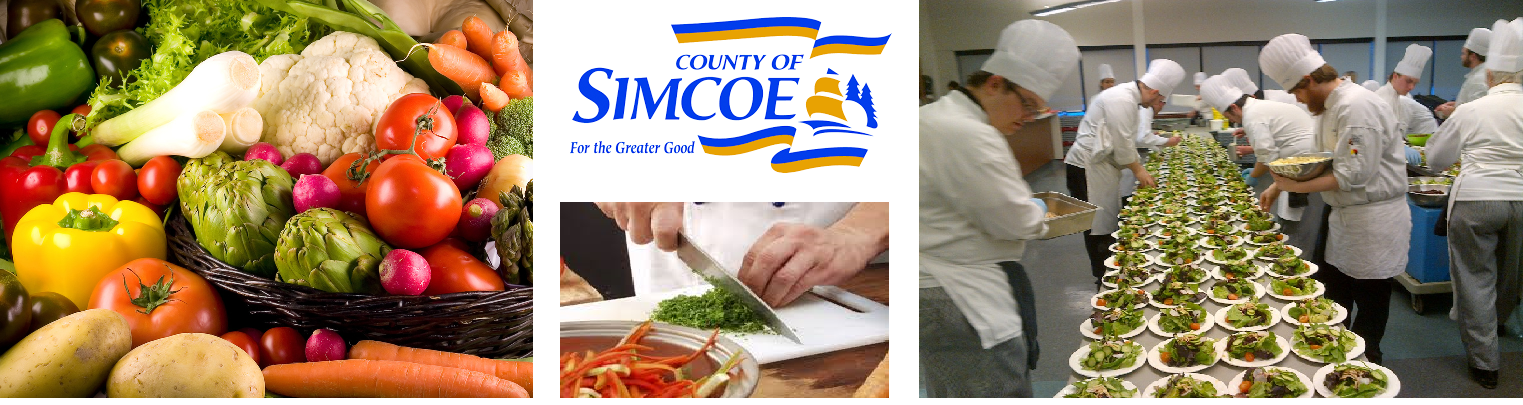 there are 4 pictures, one of a variety of vegetables, the county of simcoe sign, someone cutting vegetables and culinary students preparing salads