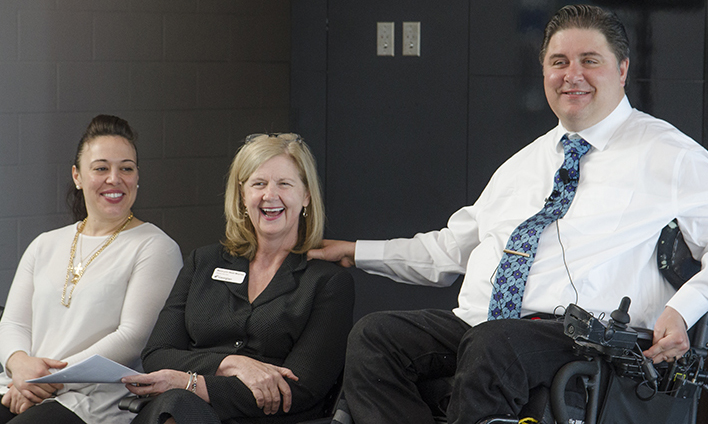 Veterans' Affairs Minister Kent Hehr, right, with Georgian President and CEO MaryLynn West-Moynes and student Victoria Kovatchev, left, at the Barrie Campus on April 18, 2017.