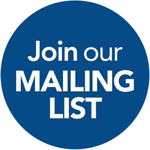 Join our mailing list text overlaying a navy blue circle