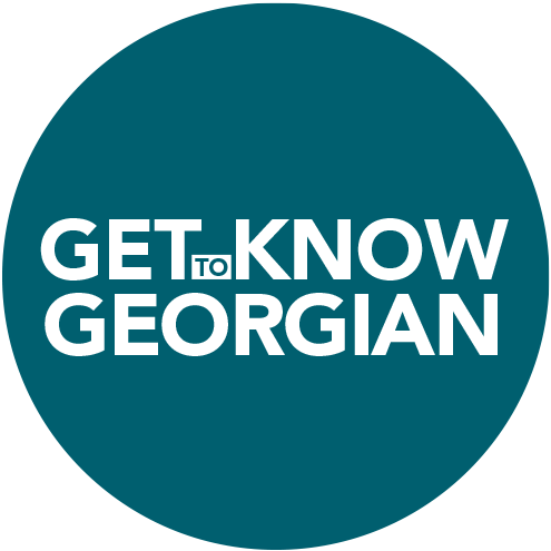 Get to Know Georgian text overlaying a teal circle