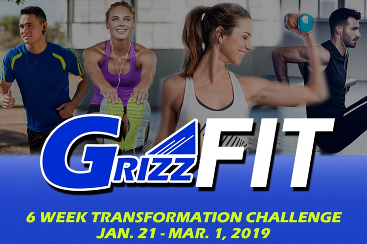 Graphic for GrizzFit showing one woman lifting weights and another on an exercise bike