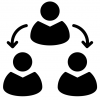 icon of three people working together as a group