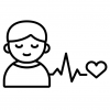 icon of a person with their eyes closed and a heart with heart rate next to them