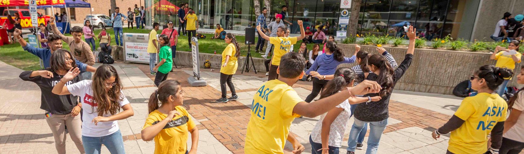 students dancing at orientation