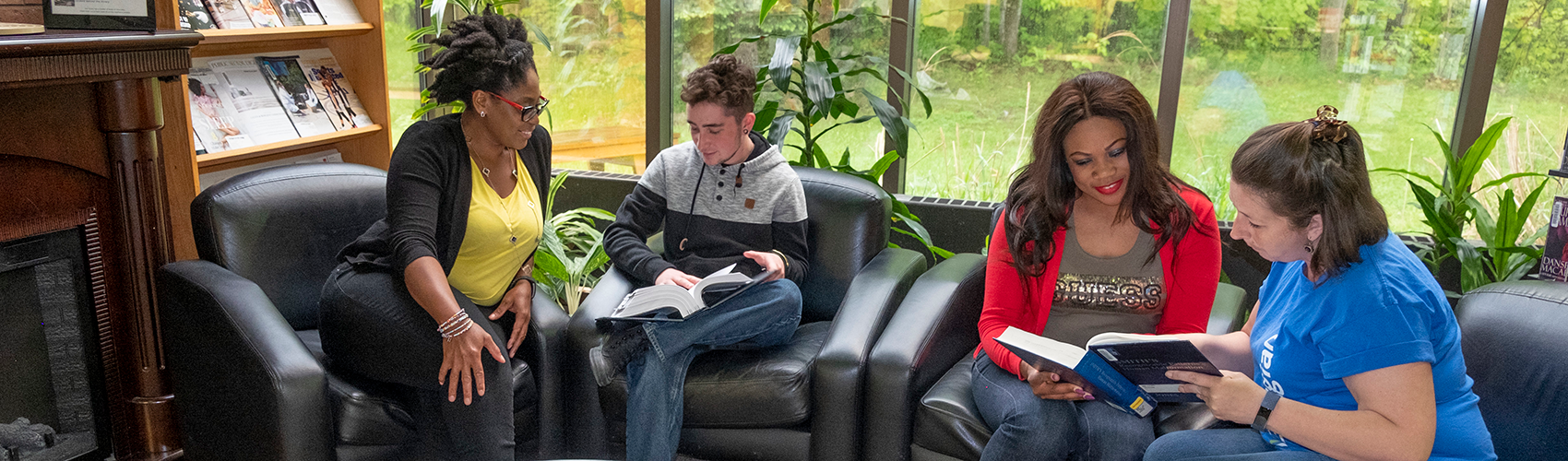 People reading together at the Georgian College Orillia Campus