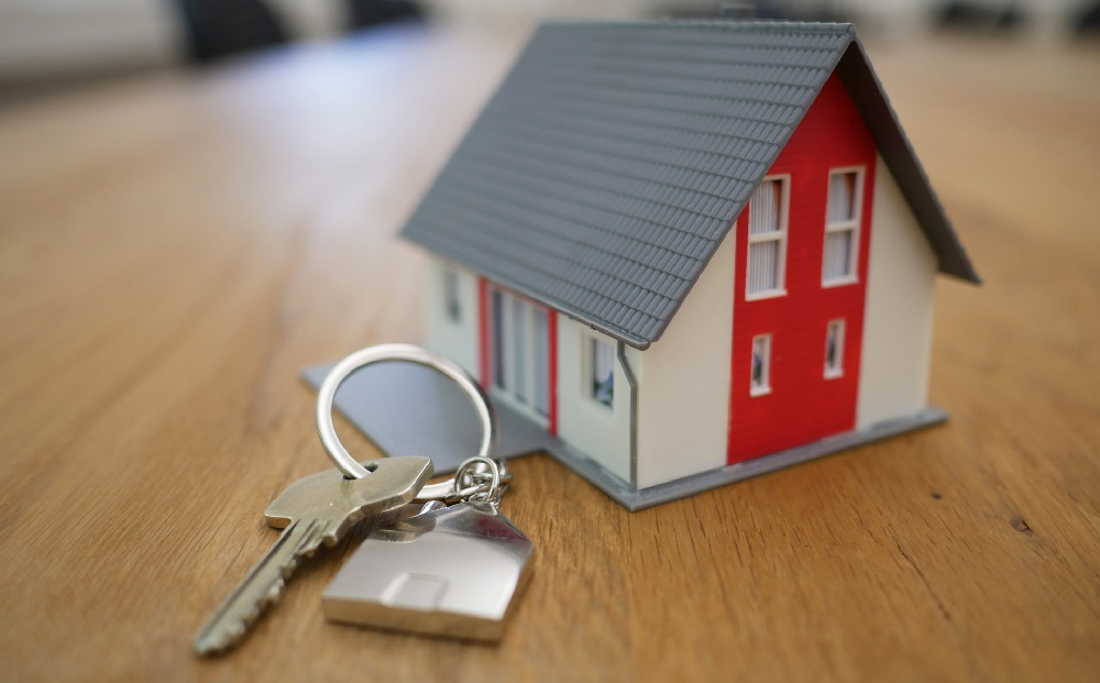 key on a key ring with a key chain that is the 3D model of a white and red house with a grey roof