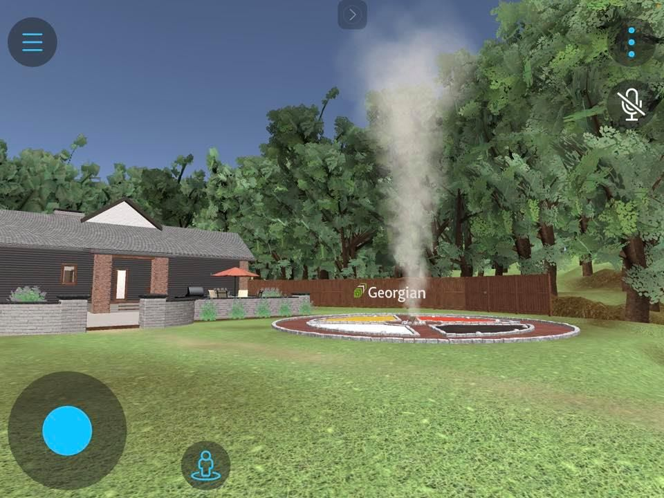 Indigenous studies in VR reality; graphic of Indigenous space with medicine wheel, fire and a house